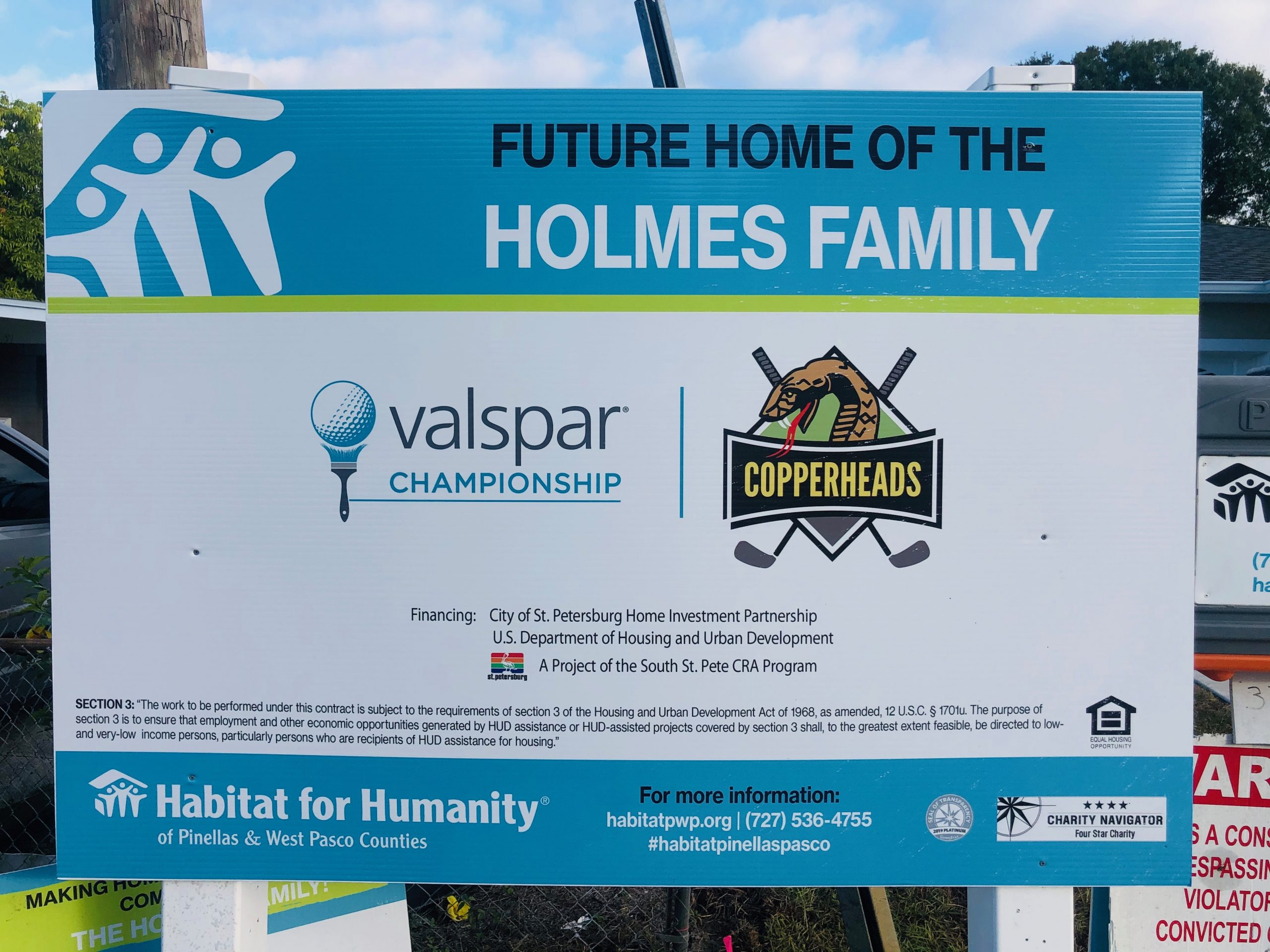 Valspar Championship and Copperhead Charities, Nominated as Philanthropic Service Organization of the Year, Sponsors Fifth Habitat for Humanity of Pinellas and West Pasco Counties Home